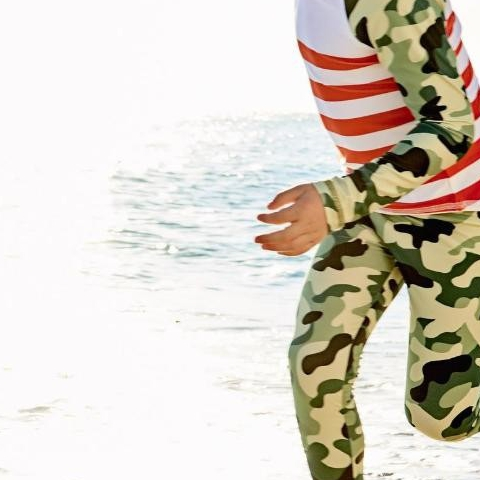 Did you know that darker and bright colors absorb more ultraviolet rays than lighter colors. (healthcaredotutahdotorg)  How about our Green Camo Rash Guard Set … It's so in, especially when bright orange as a pop of color!   All 2-pc Rash Guard Sets are 40% OFF throughout the month of August. Use code AUGUST at check out. Rash Guard Sets provide sun protection neck to ankles, like a light wetsuit. Kids feel cozy in and out of water and appreciate a comfort layering against rough or hot surfaces.   #factfriday #sunpoplife #sunprotection #kids want to wear. #factfriday #greencamo #orange #kidsrashguardset #kidsrashguards #kidsleggings #sunprotectionforkids #bestsunwear #kidssunprotection #kidsbeachwear #kidsactivewear #playingoutside #summer #summersunsafetymonth