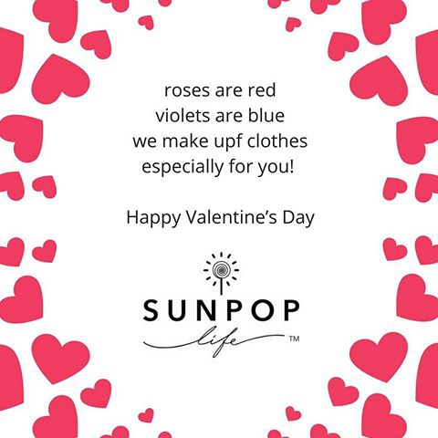 Happy Valentine's Day! Today we stopped - literally - to smell the roses and eat chocolates. We have been super busy in the last six months. A new website full of new styles and new categories up to size 12 is coming soon. We are taking our multifunctional sun protective clothing to another level. Stay tuned and join our list to learn more. Sun Pop Life, sun protection your kids will actually want to wear!  #upfclothingforkids #sunprotectiveclothing