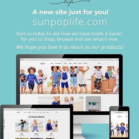 Visit us today to see how we have made it easier for you to shop, browse and see what's new. We hope you love it as much as our product! #sunpoplife #sunprotection your kids will want to wear. #sunprotectionforkids #kidsathleisure #kidsclothing #safesunfun