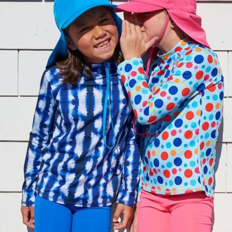 Choose comfortable hybrid clothes with UPF 50+ (ultraviolet protection factor) your kids can wear all day long. All-in-one school, sports, play time outfits! Goodbye bulky piles of laundry, HELLO free time!  #sunpoplife chemical-free UPF 50+ #sunprotection #kids want to wear and parents love to #avoidsundamage #kidsupfclothing #swimwear #kidsactivewear #kidslongsleeverashguards #legionnairesunhats #kidsshorts #dots #shibori #coral #royalblue #smallproduction #wardrobeideas #hybridclothes #outdoorfreedom #school #sports #morefun #lesslaundry #eco  #avoidsundamage #moisturewicking #chemicalfreefabric #quickdry #sunsafe #trainyourbrainday #fundaysunday