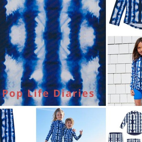 """I love the tie-dye!"" The Shibori collection borrows from the ancient manual resist-dyeing Japanese technique called by the same name. A unique tie-dye like effect for boys reminiscent of the 90's trend but more elevated and fashion-forward by using darker hues. Girls also love this print, so we are categorizing it as a unisex collection. Style head to toe for maximum impact. Break with a pop of colors such as royal blue, coral or orange or ground with a navy rash guard or leggings.  #sunpoplife #uvclothingforkids #messfreesunprotection  #kidsessentials #kidsrashvest #kidsurfleggings #besunsmart #inspiration #patternrepeat #toddlers #kids #youth #kidshybridclothes #kidsswimwear #uvswimwear #kidsbeachwear #swimmingpants #shibori #shiboristyles #shiborileggings #shiborikidsfashion #shiborifashion #tiedye #indigo #upf50plus #giftideas #smallquantities #shopsmall #nationalentrepreneursmonth #november"