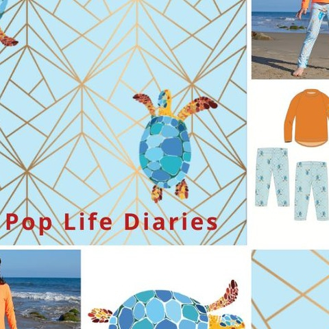 Sea turtles are the playful motif for this print. The orange multi-triangular grid illustrates the hurdles Sea Turtles overcome in the modern world, and the blue background reminds us of the immensity of the oceans and skies we enjoy. . . . #sunpoplife #sunprotection #rashguardsets  #uvswimwear #rashguardsforboys #rashguardsforgirls #girlsleggings #upfleggings #swimleggingsforboys #kidsswimsuits #kidsswimwear #kidsrashguards #swimpants #upf50plus #instantsunprotection #sunsafety #kidsessentials #giftideas #giftingseason #outdoorfreedom #ecofriendlyfabrics #turtles #saveseaturtles #turtleleggings #seaturtles #solarprotection #besunsmart  #happyholidays #madeinUSA #december