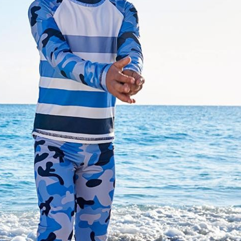 Today we declare our love for BLUE and all its shades. We celebrate those who spread awareness and kindness.  We honor those who improve theirs/our quality of life and urge society inclusion. We believe in the power of living the life we have imagined. - - Blue Camo 2pc Rash Guard Set UPF50+ $90 - - #sunpoplife #childrenswear #upf50 #smartswimwear #hybrids #betterthansunblock #stressfreesunprotection #surfpants #longsleeverashguards #likeawetsuit #april #shadesofblue  #KindnessCounts #WAAD #WorldAutismMonth #PoetryMonth #aspie #shineonwemust #lightitupblue #NationalHopeMonth
