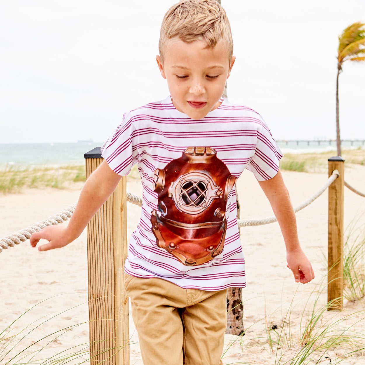 Boys Antique Diving Helmet Tshirt
