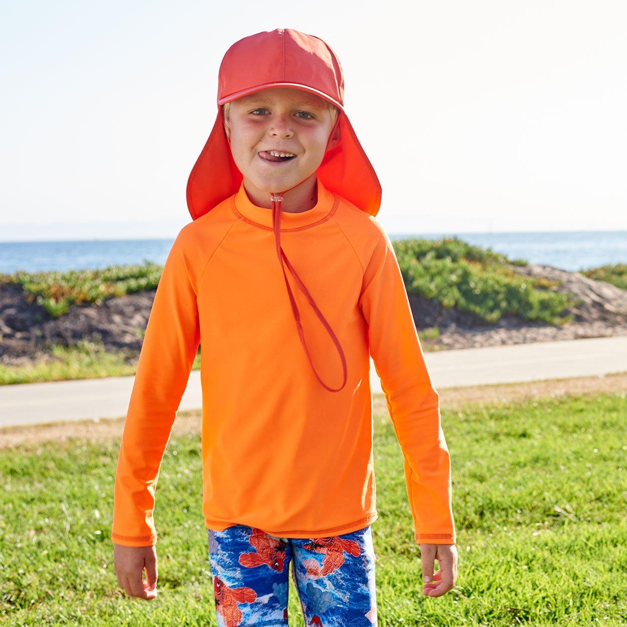 7030973cf9026 Kids Orange Legionnaire Sun Hat Upf 50 Size S Xl Boys Girls Unisex Front  View Boy