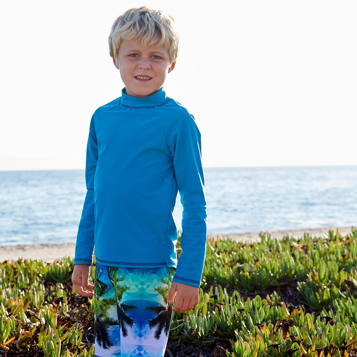 Teal Kids Long Sleeve Rash Guard Top Upf50 Boys Girls Unisex Size 2 12 Surfer Boy by the Ocean Sunpoplife