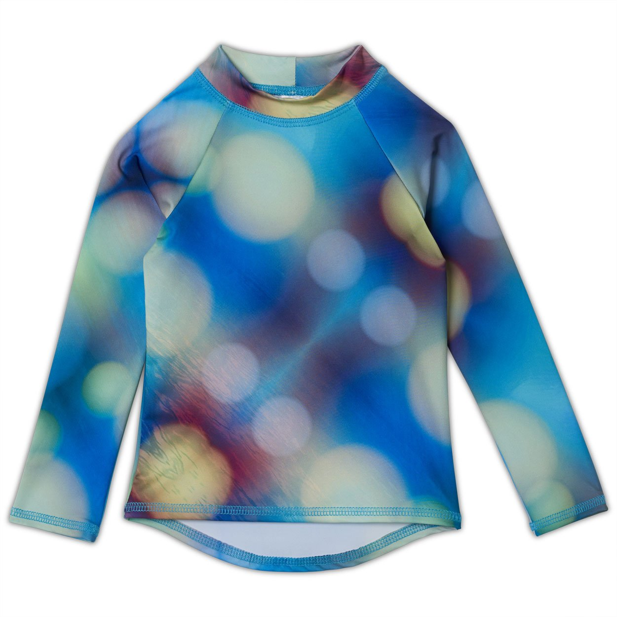 Blue Abstract Long Sleeve Rash Guard Top UPF 50+ for Kids