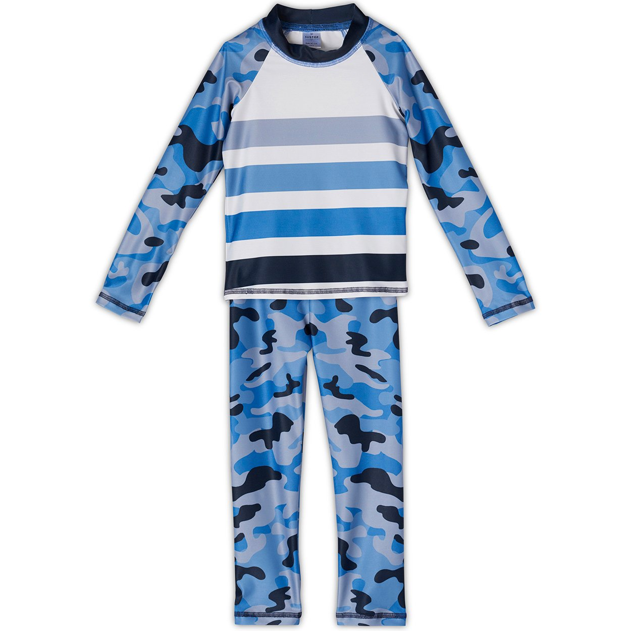 Blue Camo 2-pc Rash Guard Set UPF 50+ for Boys