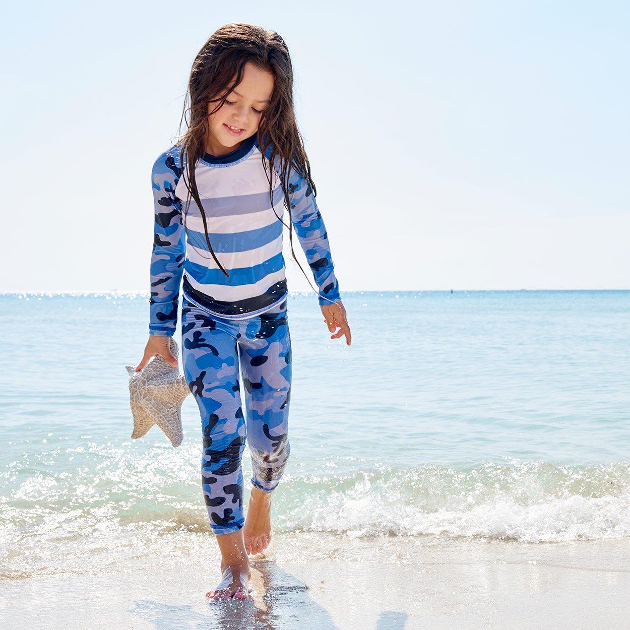 Blue Camo 2Pc Rash Guard Set Girls Shell Found On The Beach Sunpoplife