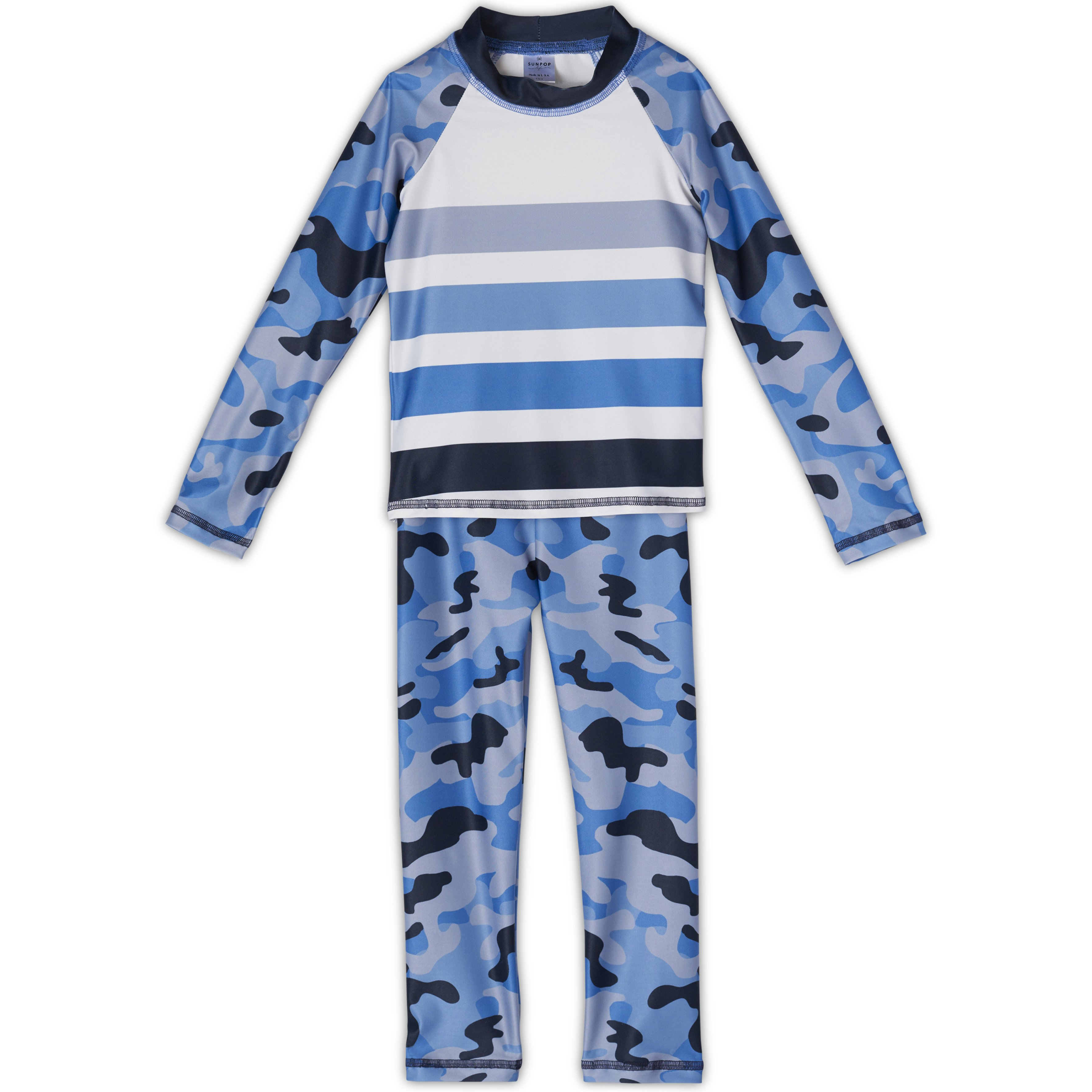 Blue Camo 2pc Rash Guard Set UPF 50+ for Girls