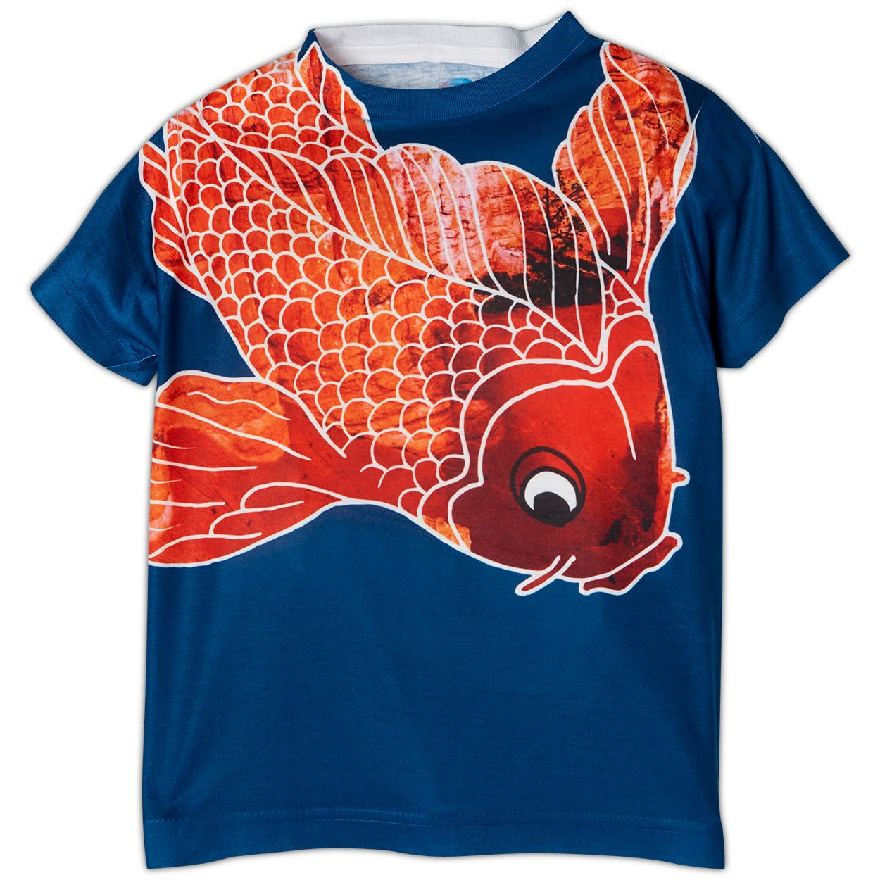 Boys Koi Fish Graphic Tshirt Blue Orange Size Xs L Sunpoplife