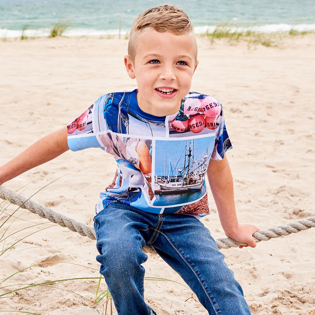 Boys Marina Photo Collage Tshirt Size Xs L Navy Red Sky Blue Modern Mariner Boy Sitting On The Ropes By The Pier At The Beach Sunpoplife