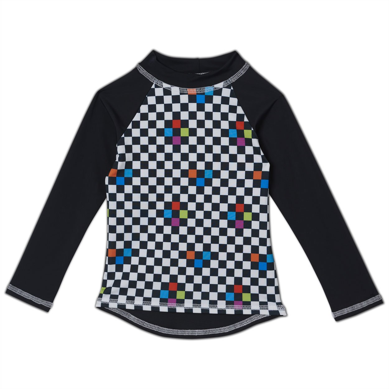 Checkerboard Long Sleeve Rash Guard Top UPF 50+ for Kids