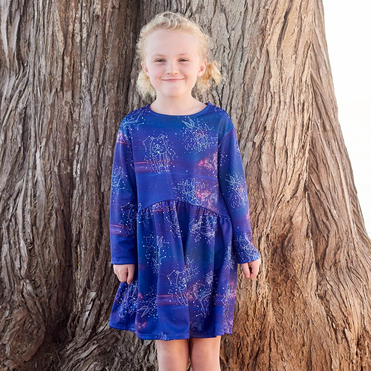 Constellations Dress Girls Size 2 12 Purple Moisture Wicking Cosmos Girl Standing On The Beach In Front Of A Tree Sunpoplife