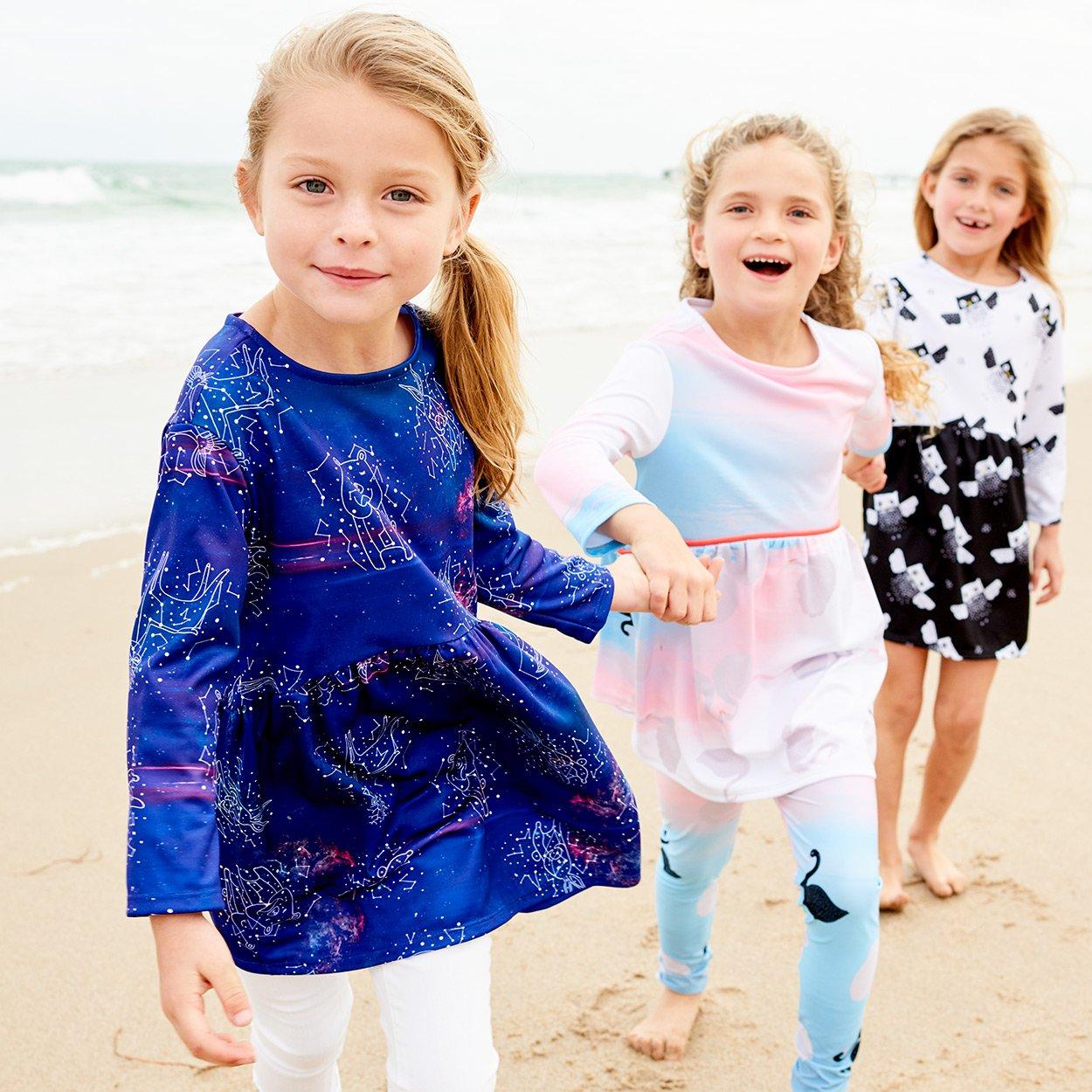 Constellations Dress Girls Size 2 12 Purple Moisture Wicking Cosmos Three Girls Walking On The Beach Sunpoplife