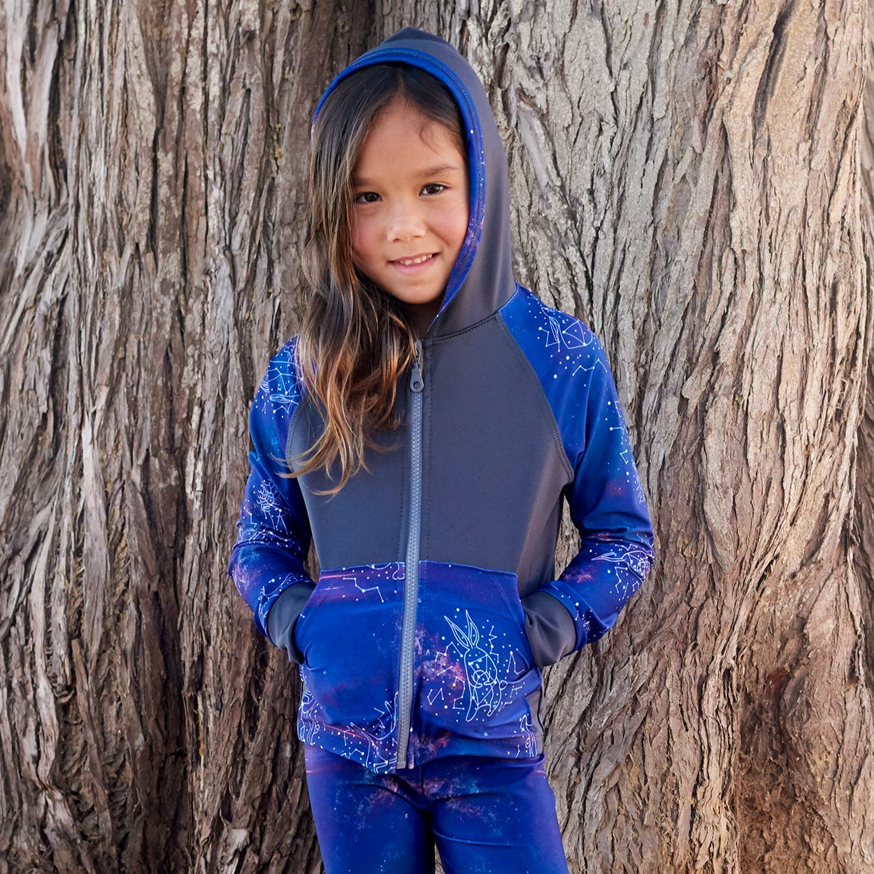 Constellations Zip Up Hoodie Upf50 Kids Size 2 12 Boys Girls Purple Grey Unisex Cosmos Smiling Girl With Hands In Her Pockets Sunpoplife