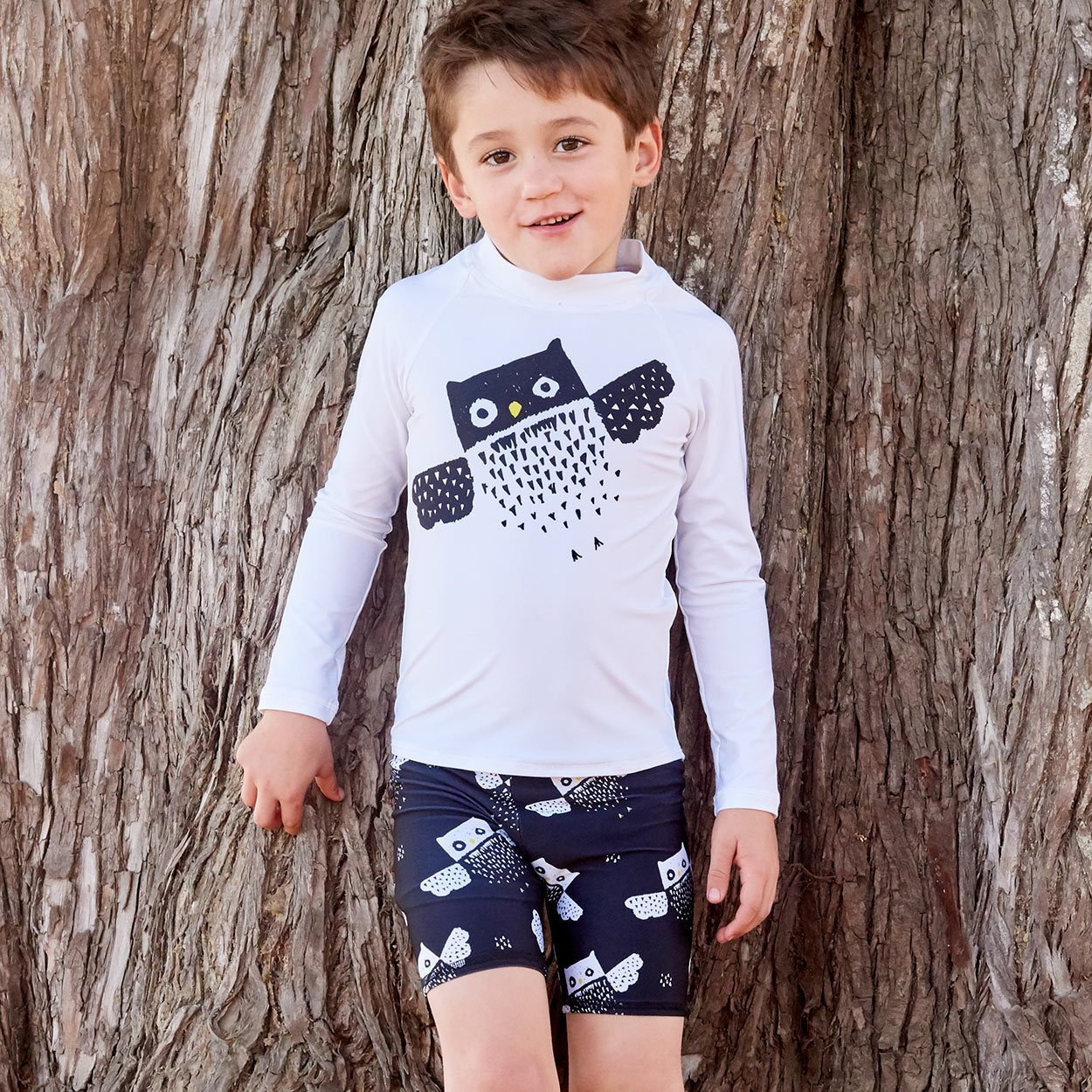 Diagonal Owl Long Sleeve Rash Guard Top Upf50 Kids Boys Girls Size 2 12 White Black Unisex Boy Touching A Brown Tree Sunpoplife