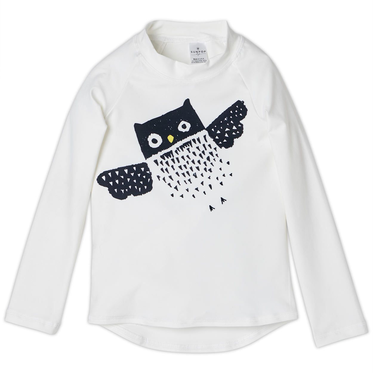 Diagonal Owl Long Sleeve Rash Guard Top UPF 50+