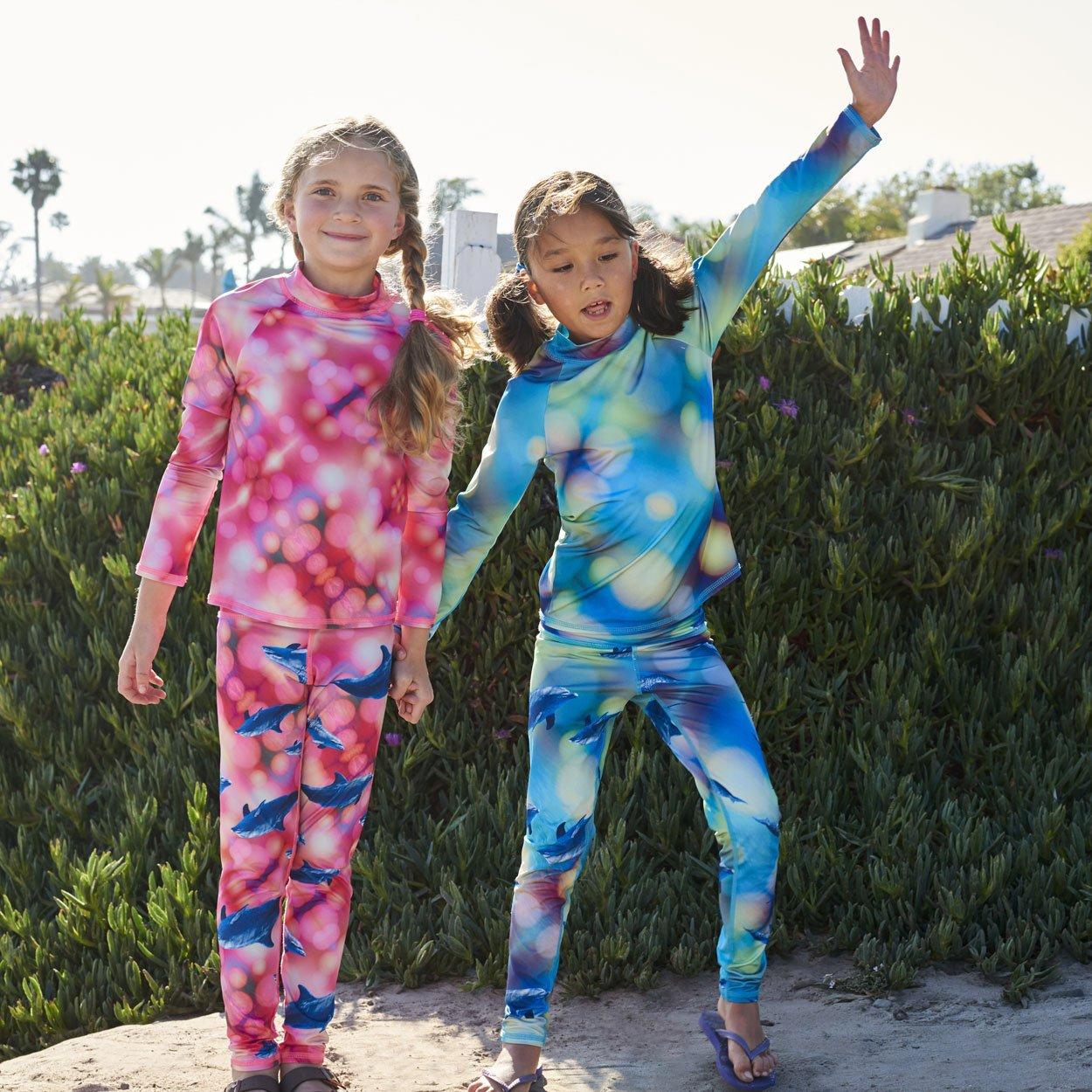 Pink Dolphin Hybrid Kids Leggings UPF 50+