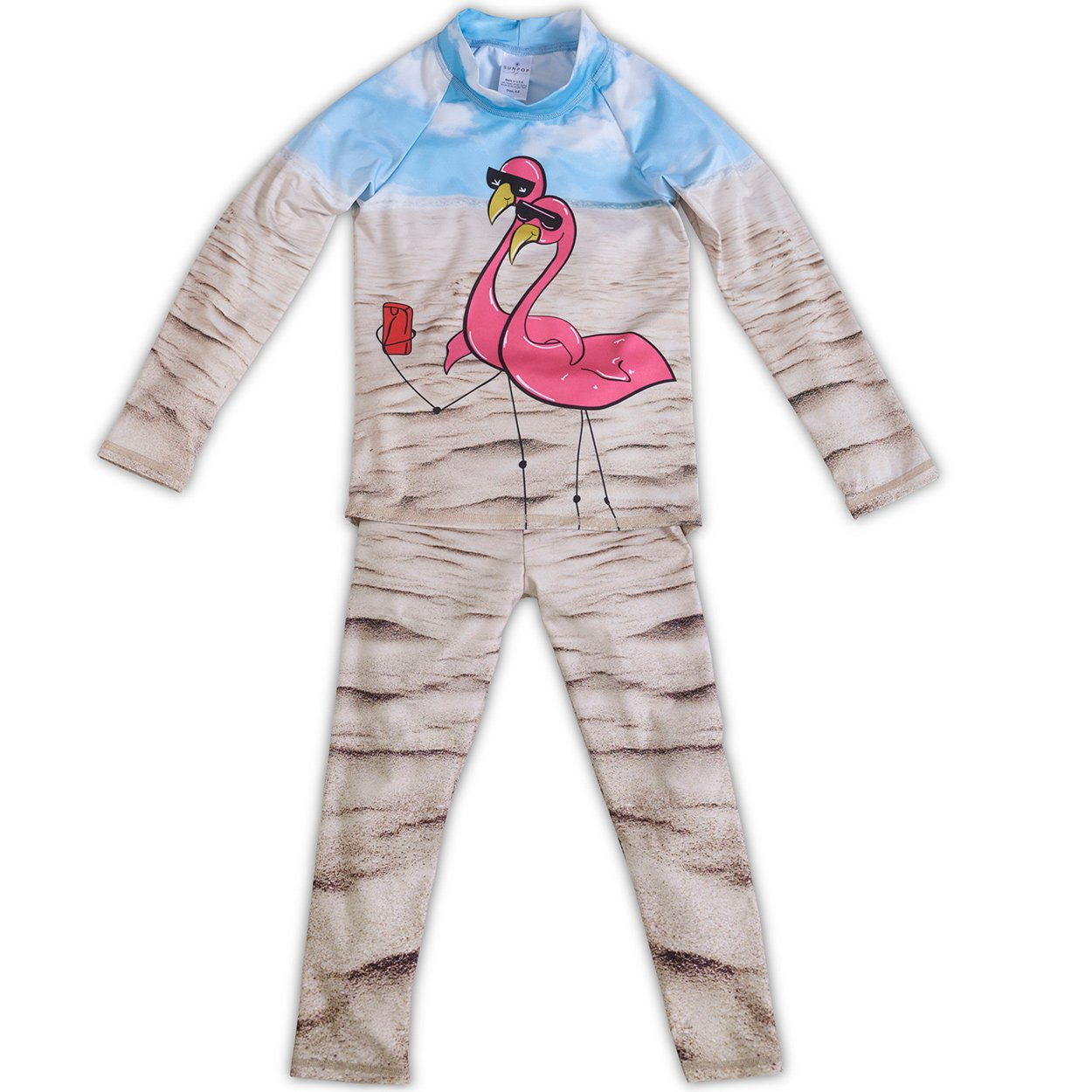 Flamingo 2Pc Rash Guard Set Girls Sunpoplife