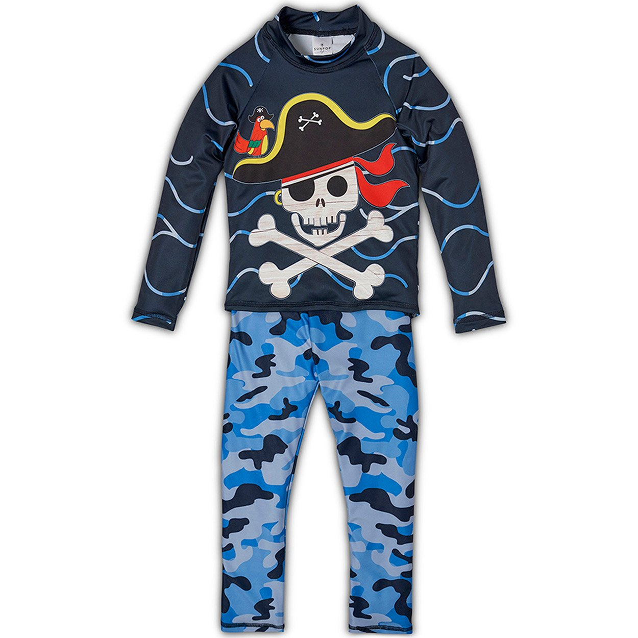 Fun Pirate 2-pc Rash Guard Set UPF 50+ for Boys