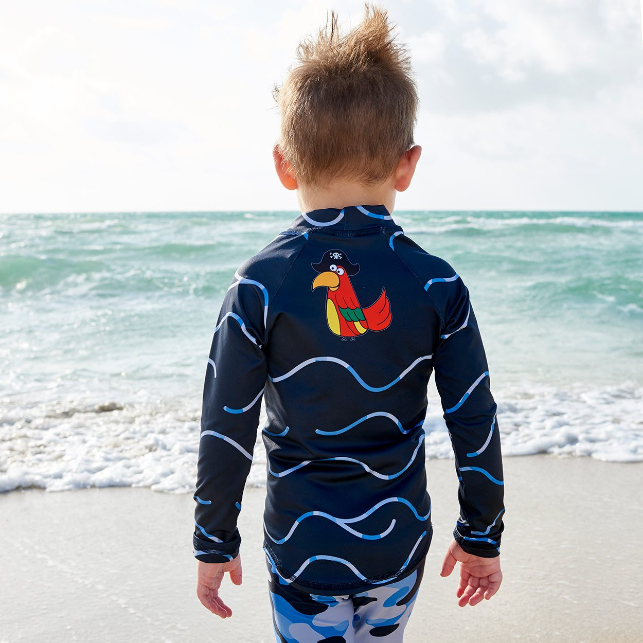 Green Camo 2 Pc Rash Guard Set Boys Wetsuit On The Beach Sunpoplife