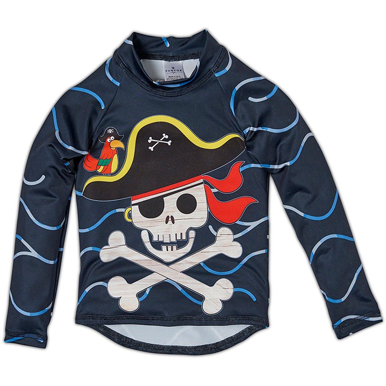 Fun Pirate Rash Guard Top UPF 50+ for Boys