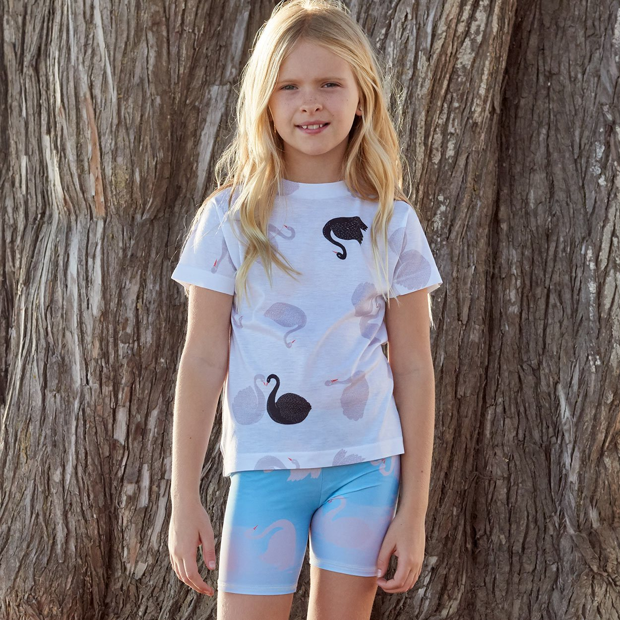 Girls All Over Swans Graphic Tshirt White Black Gray Size Xs L Happy Teenage Girl At The Ocean Standing In The Shade Sunpoplife