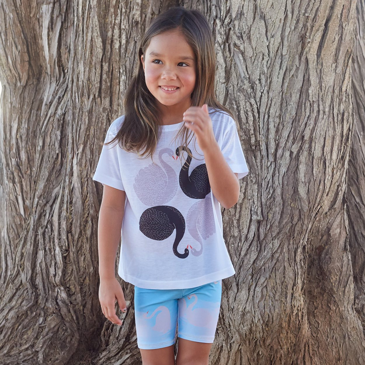 Girls Love Swans Graphic Tshirt Black White Gray Size Xs L Girl Smiling Looking At The Horizon Sunpoplife