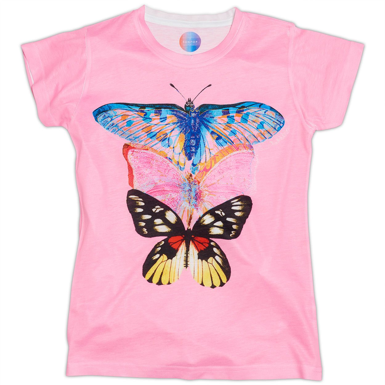 Girls Pink Butterfly Graphic T-shirt