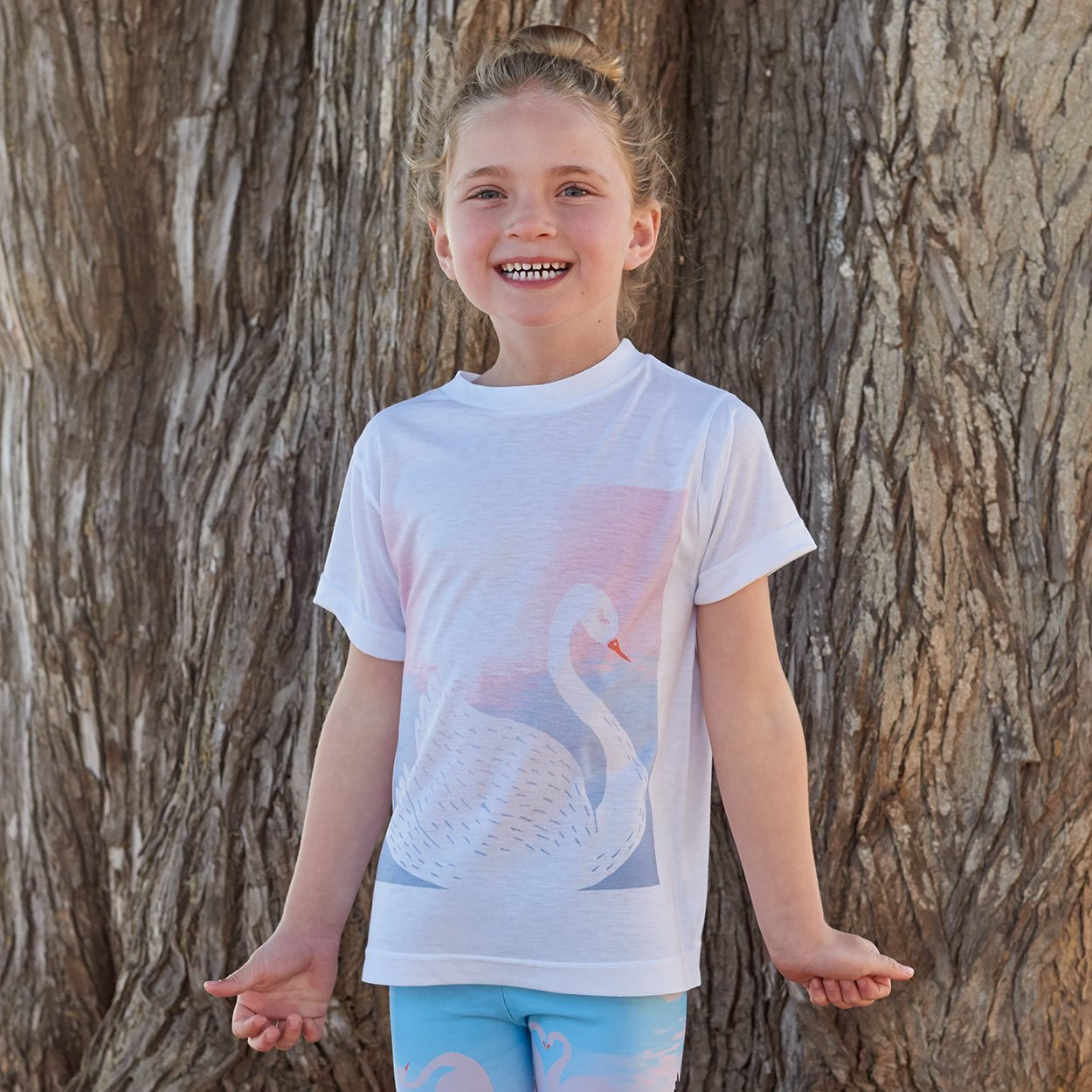 Girls White Swan Graphic Tshirt White Aqua Peach Size Xs L Girl By The Beach Smiling Sunpoplife