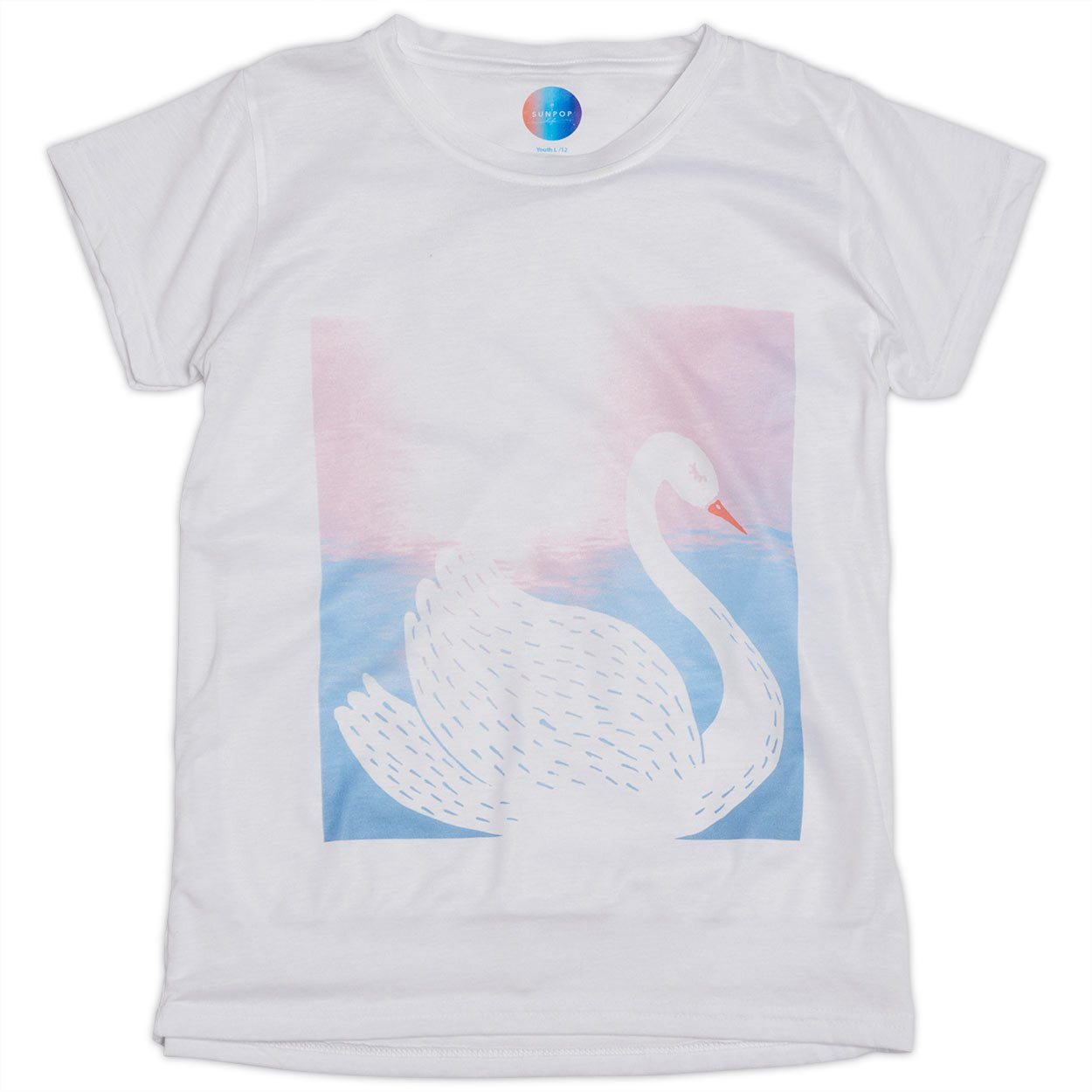 Girls White Swan Graphic T-shirt
