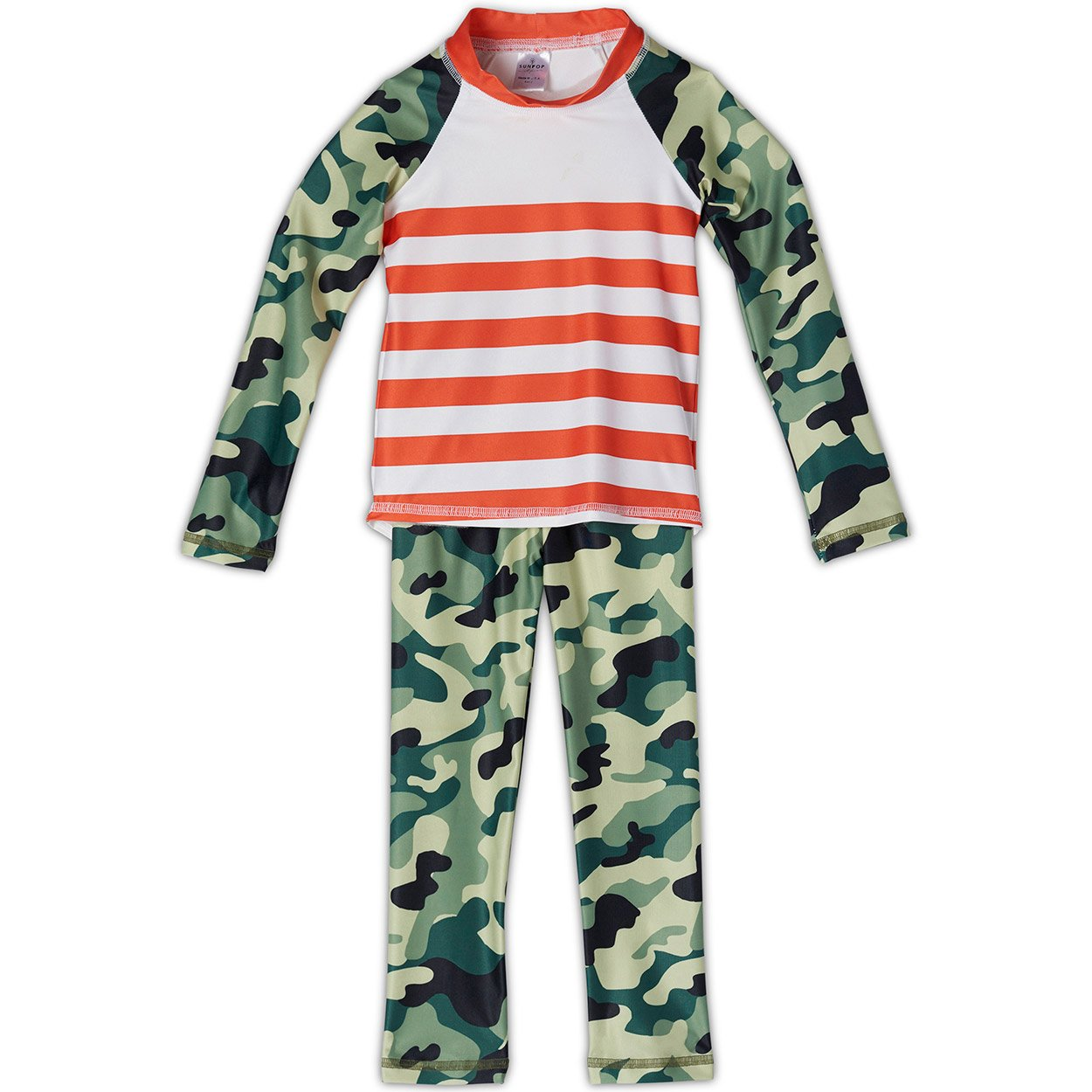 Green Camo 2-pc Rash Guard Set UPF 50+ for Boys