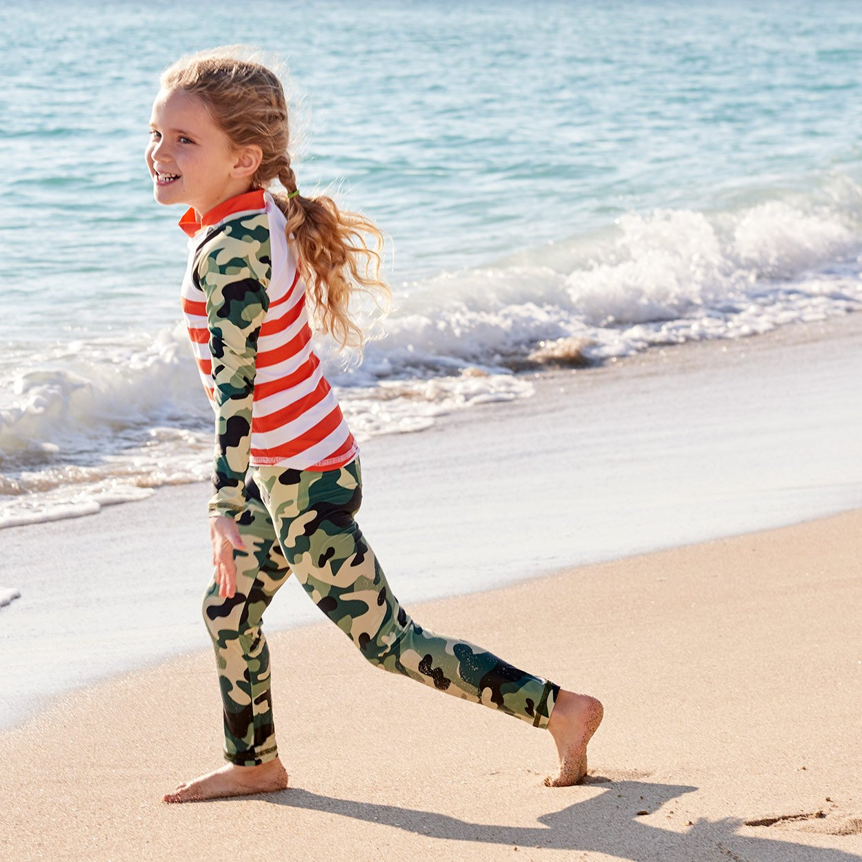 Green Camo 2Pc Rash Guard Set Girls Playing Tag On The Beach Sunpoplife
