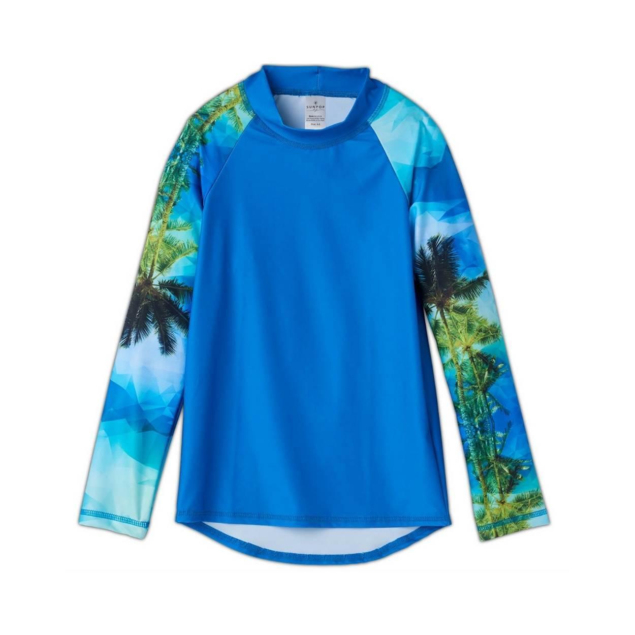 Hawaiian Long Sleeve Rash Guard Top UPF 50 Kids Boys Girls Size 2 12 Green Blue Palm Trees Geo Tropical Unisex Sunpoplife