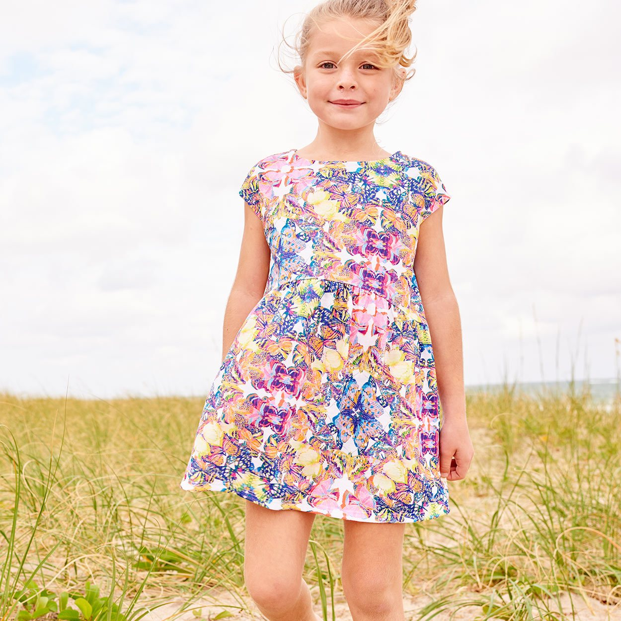 Kaleidoscope Dress Girls Size 2 12 Multicolor Opaline World Girl Standing On A Beach By Seagrass Sunpoplife