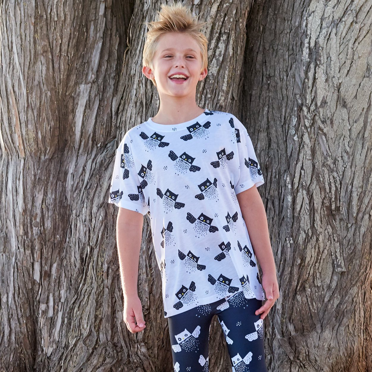 Kids Owls Pattern Graphic Tshirt Black White Size Xs L Unisex Smiling Boy At The Beach By A Tree Sunpoplife