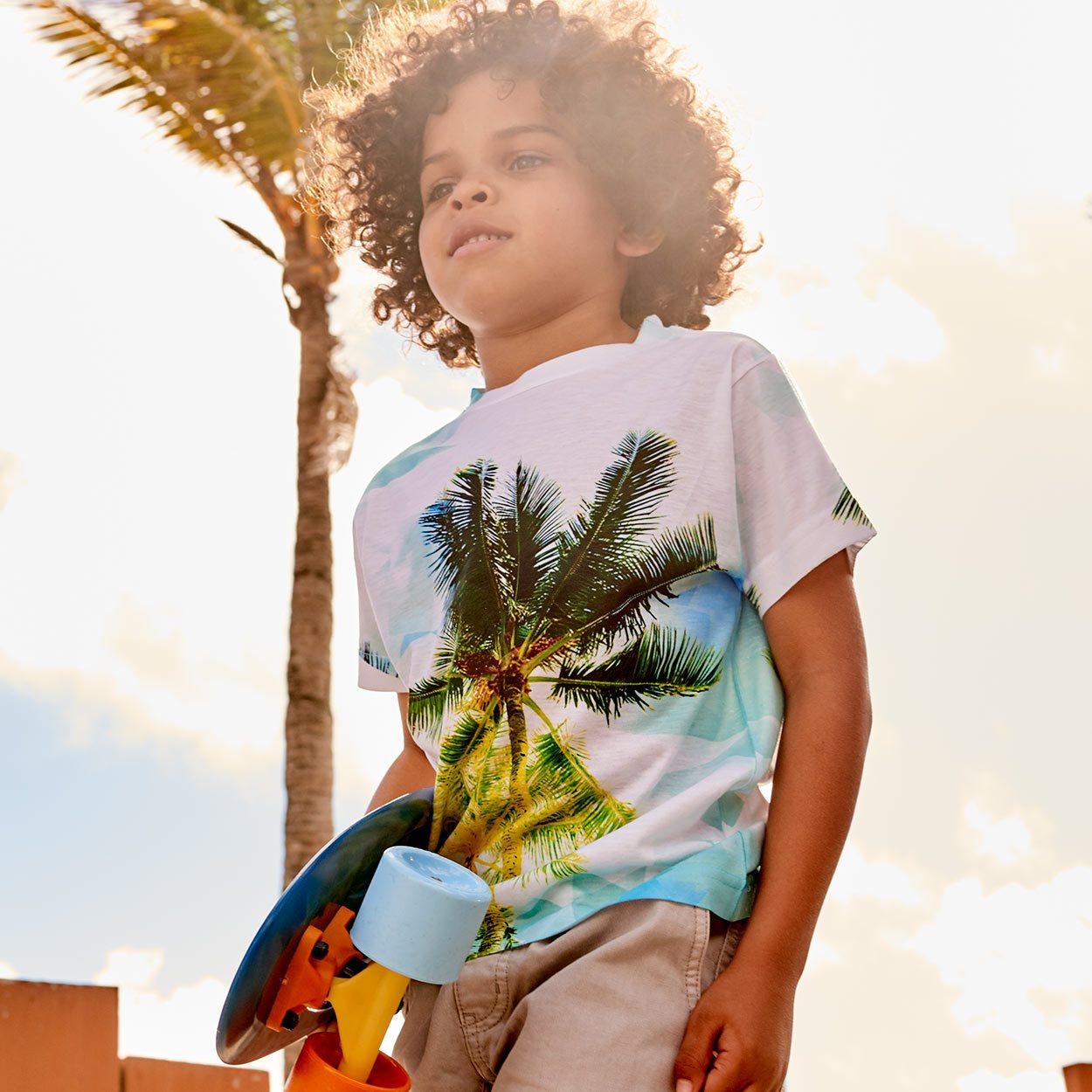 Kids Palm Trees Photo Tshirt White Green Blue Size Xs L Unisex Geo Tropical Skater Boy At The Beach Holding His Skateboard Sunpoplife