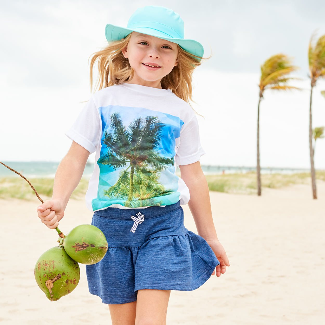 Kids Palms Graphic Tshirt White Green Blue Size Xs L Unisex Geo Tropical Girl Skipping On The Sand Holding Coconuts Sunpoplife