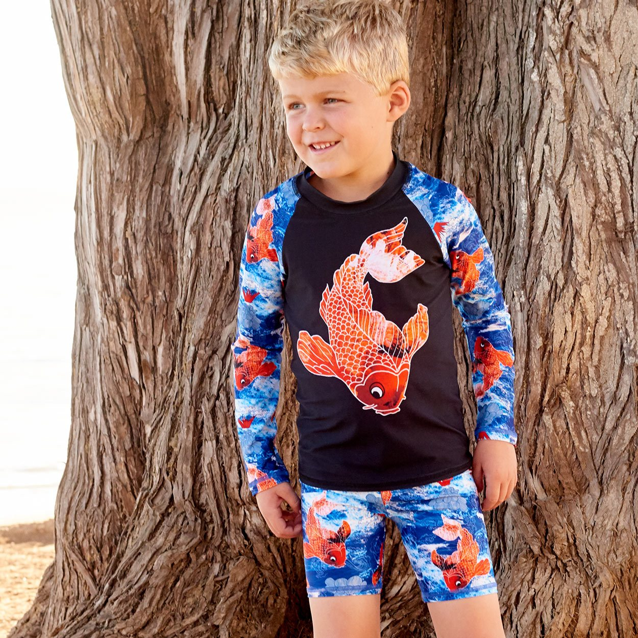 Koi Fish Sunblocker Shorts Upf50 Kids Boys Size 2 12 White Blue Orange Boy At The Beach In Front Of A Tree Sunpoplife