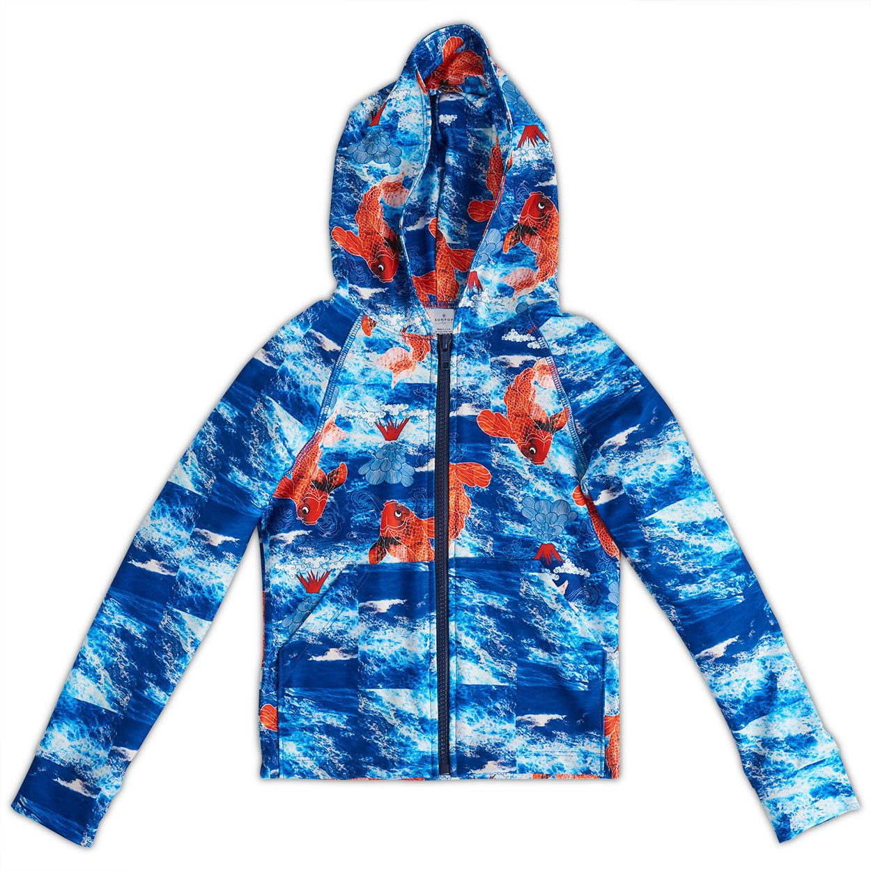 Koi Fish Zip Up Hoodie Upf50 Boys 2 12 Blue Orange Sunpoplife