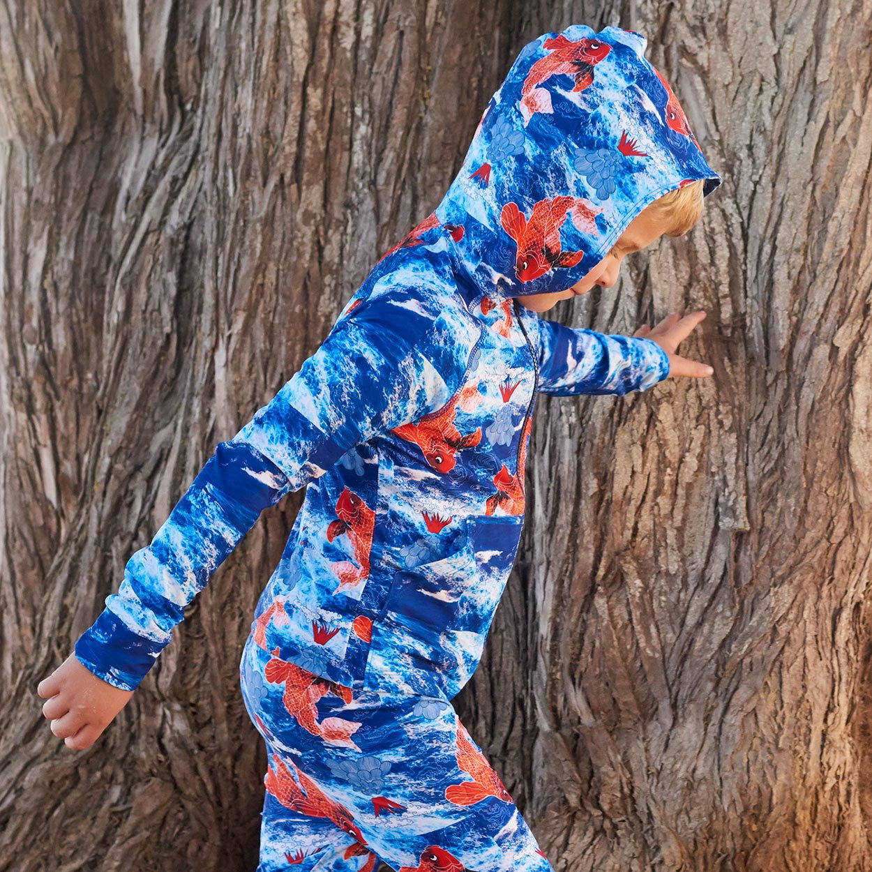 Koi Fish Zip Up Hoodie Upf50 Kids Boys Size 2 12 Blue Orange Blonde Boy Wearing A Hoodie Walking Past A Tree At The Beach Sunpoplife