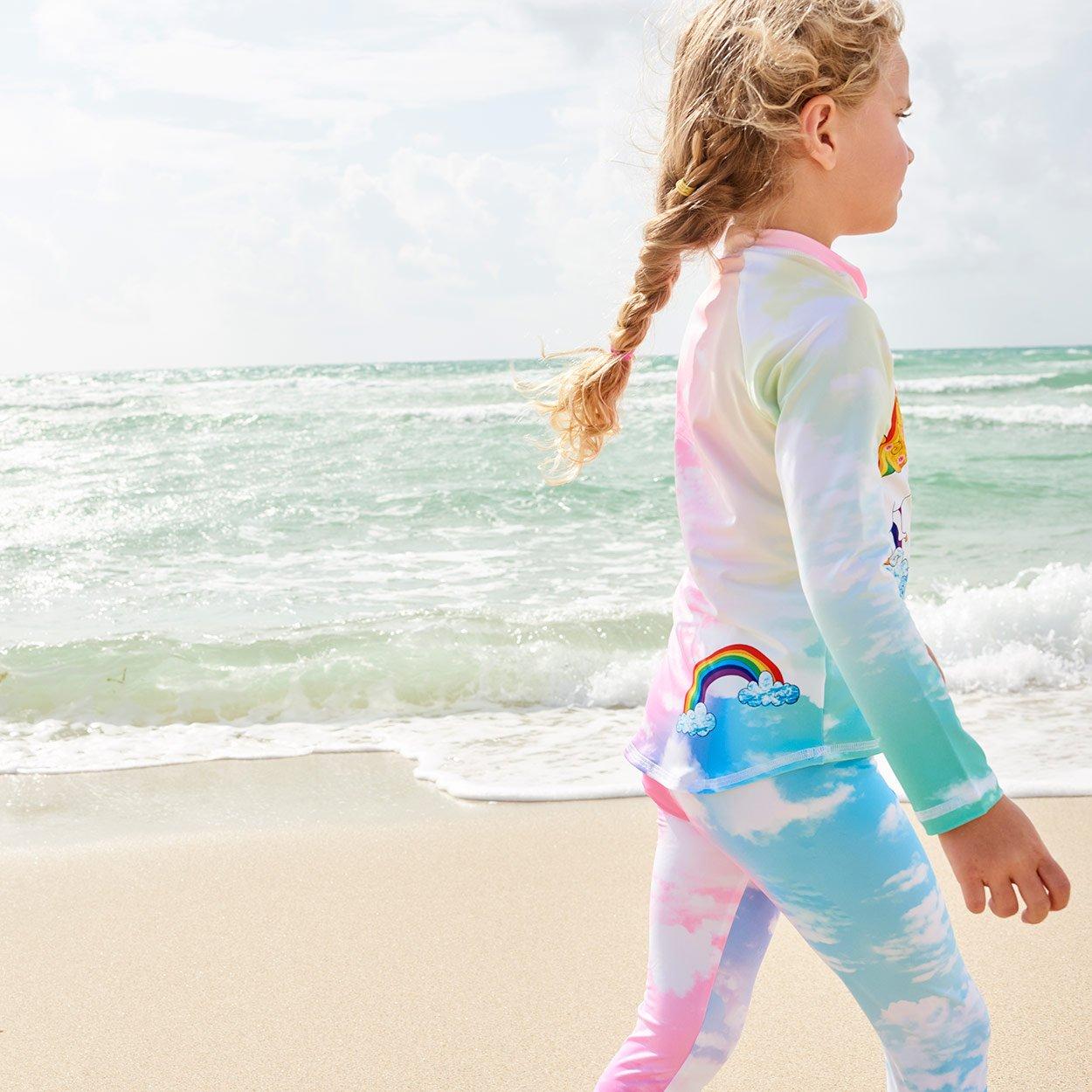 Lucky Unicorns 2Pc Rash Guard Set Girls Rainbow On The Beach Sunpoplife