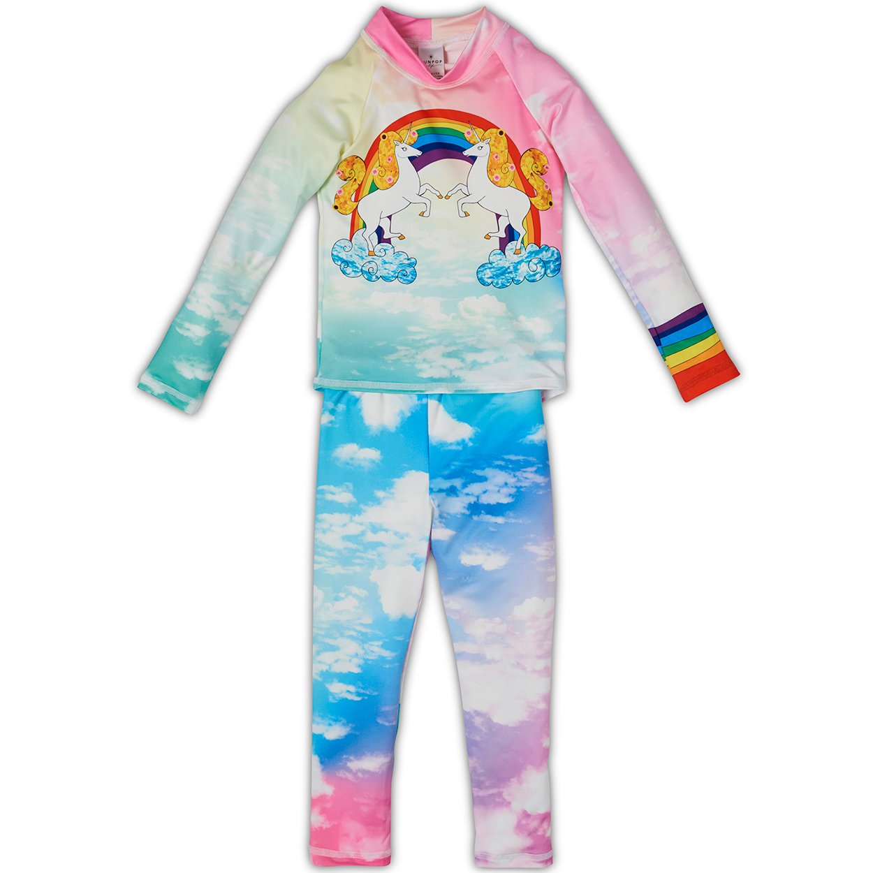 Lucky Unicorns 2pc Rash Guard Set UPF 50+ for Girls