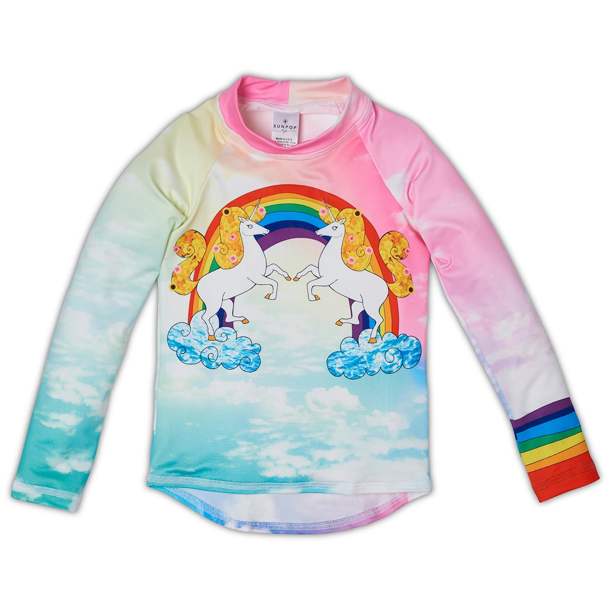Lucky Unicorns Rash Guard Top UPF 50+ for Girls