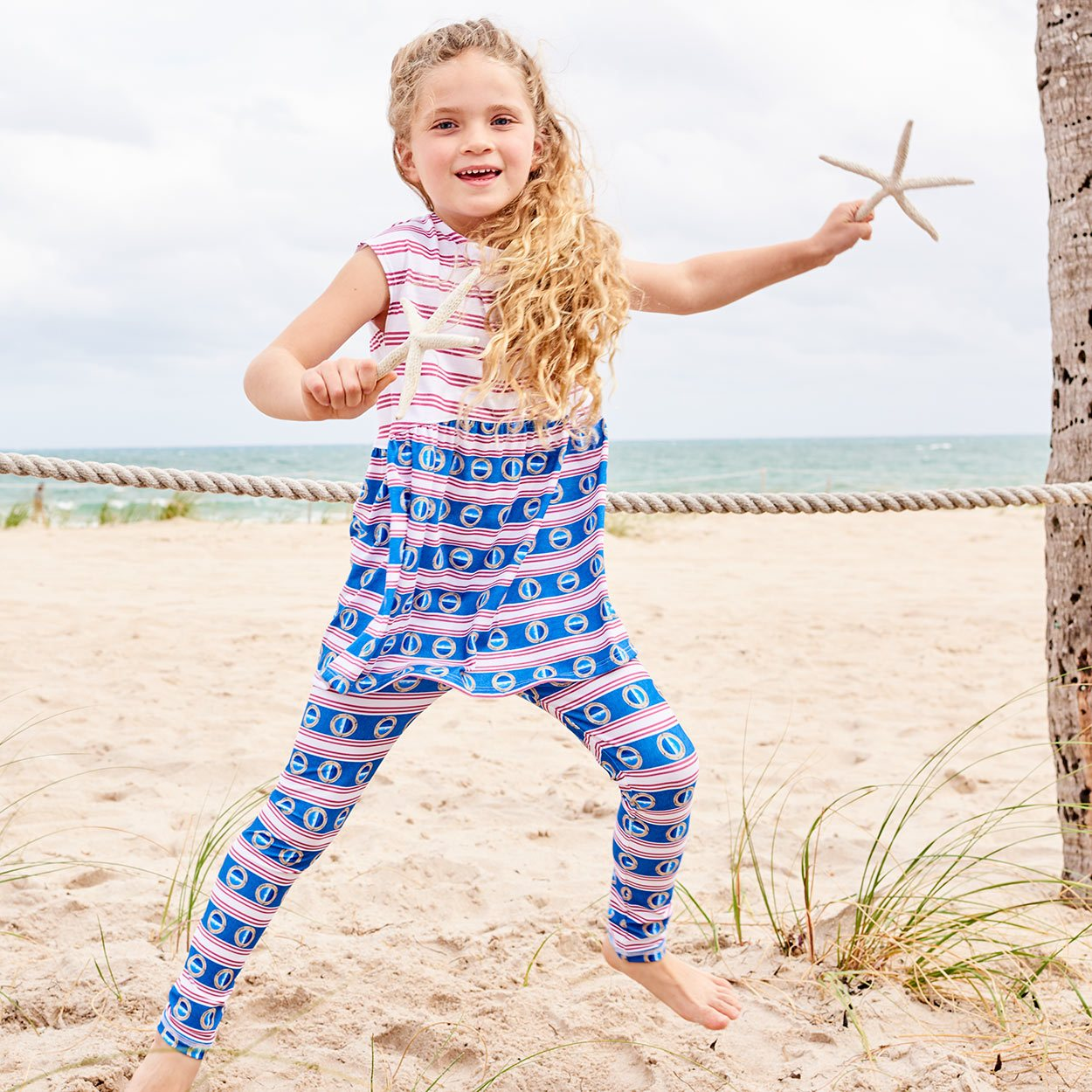 Mariner Hybrid Leggings Upf50 Kids Boys Girls Size 2 6 Red White Blue Stripes Denim Modern Mariner Unisex Girl On The Beach Jumping Wearing Leggings Under A Dress Sunpoplife
