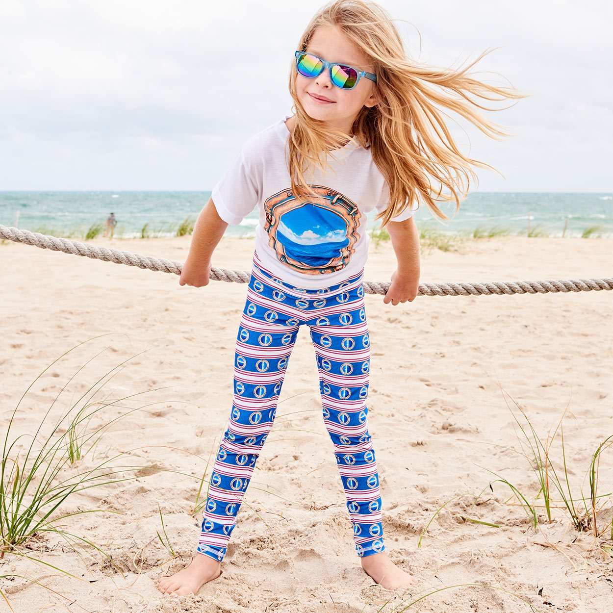 Mariner Hybrid Youth Legging Upf50 Girls Size 6 12 Red White Blue Stripes Denim Modern Mariner Girl On The Beach Wearing Sunglasses Playing With A Rope Sunpoplife