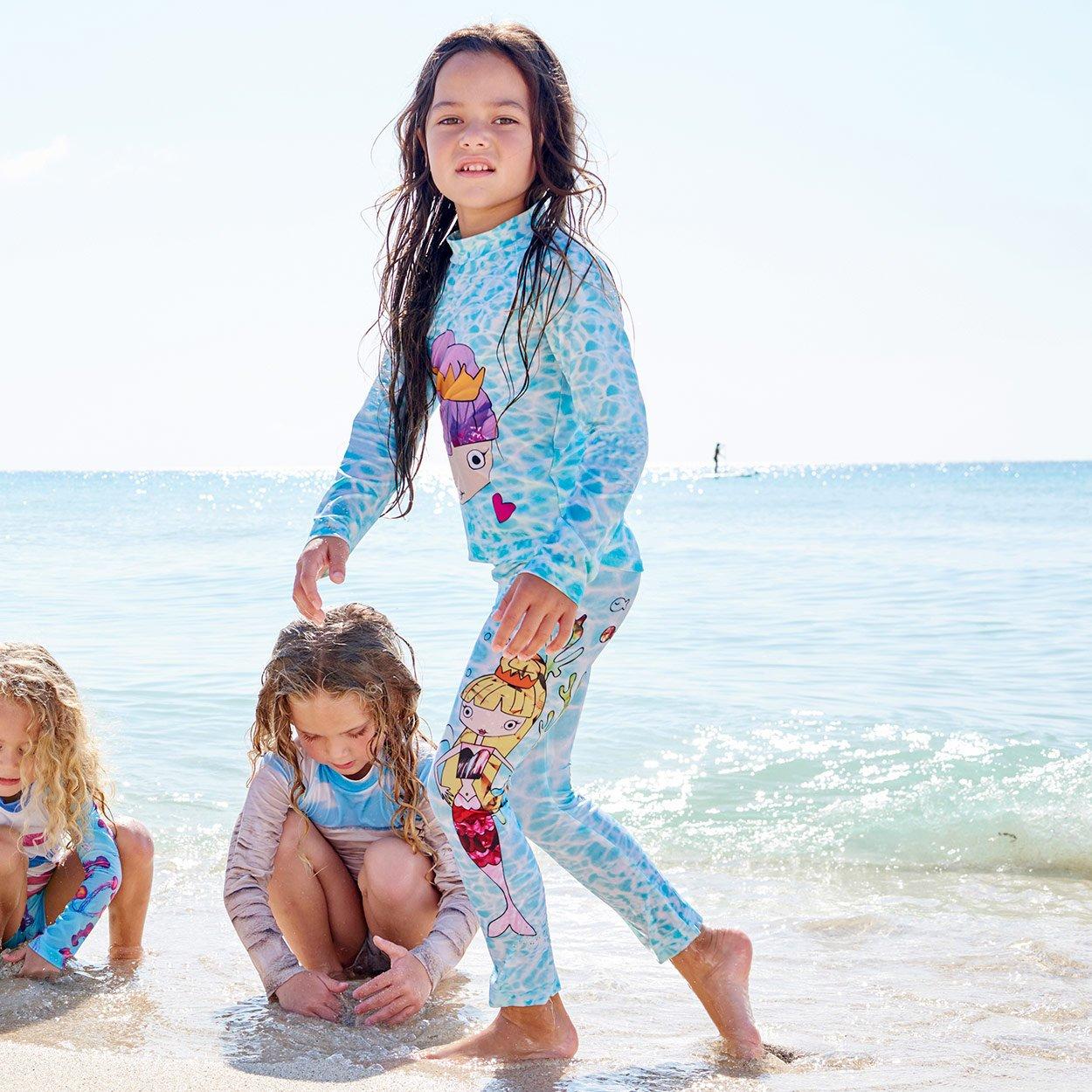 Mermaids 2Pc Rash Guard Set Left View Girls Playing With Sand Beach Sunpoplife