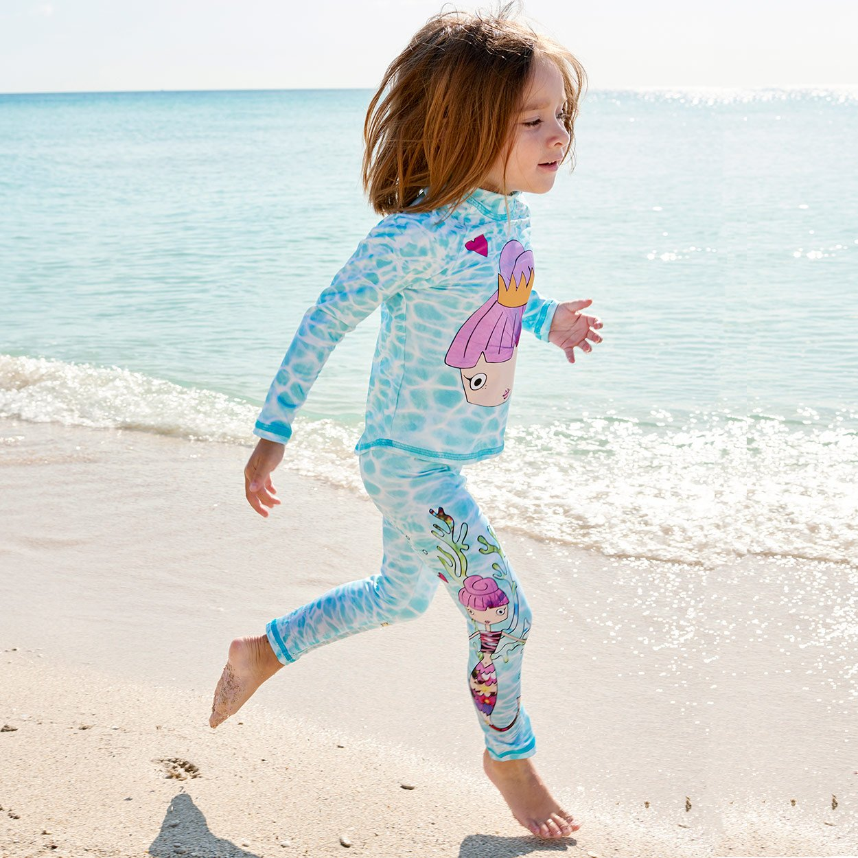Mermaids 2Pc Rash Guard Set Right View Girl Running On The Beach Sunpoplife