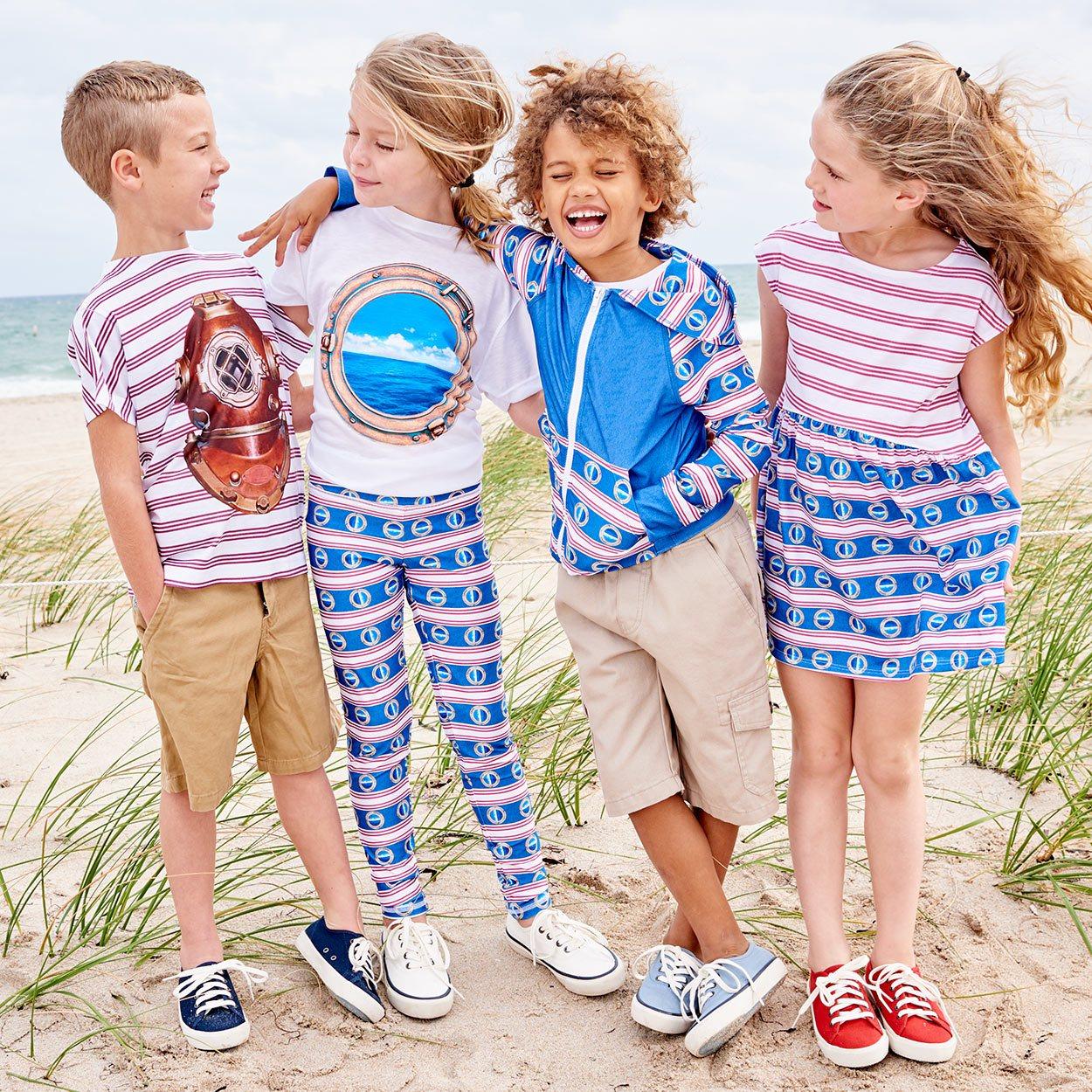 Modern Mariner Hybrid Zip Up Hoodie Upf50 Kids Boys Girls 2 12 Red White Blue Stripes Denim Portholes Unisex Wo Boys And Two Girls On The Beach Sunpoplife